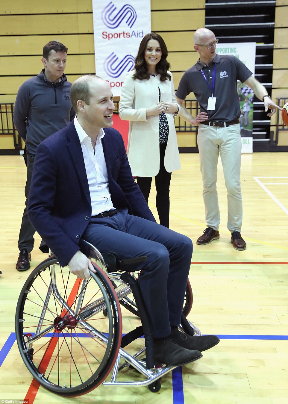 The couple often take part in sporting challenges together on official engagements, but today Kate let William take the lead