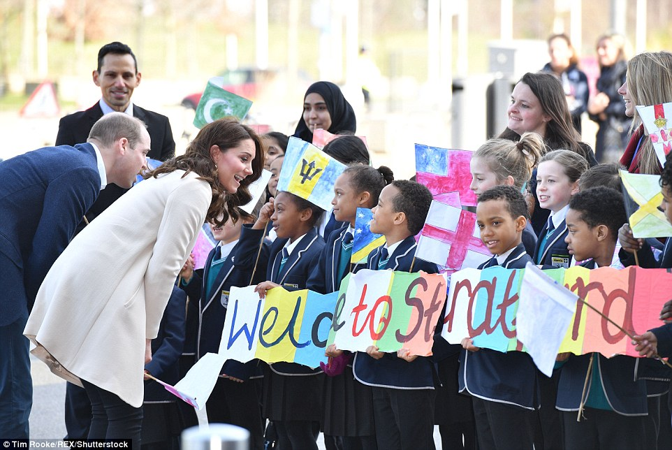 Pregnant Kate was seen bonding with youngsters during her last official engagement before giving birth again