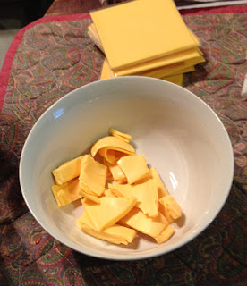 Cut up the cheese into cubes