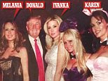 Donald Trump is pictured with his wife Melania, his daughter Ivanka and the Playboy glamour model he is alleged to have had an affair with, Karen McDougal, at a Playboy Mansion party