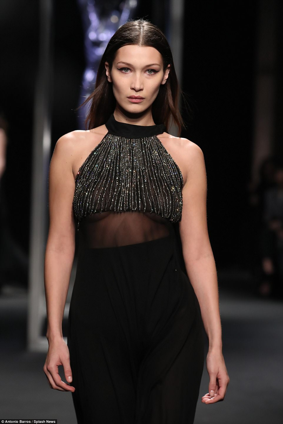 Striking:Contrasted with a solid black lower half, the outfit proved to be a high-point as the she strode the runway
