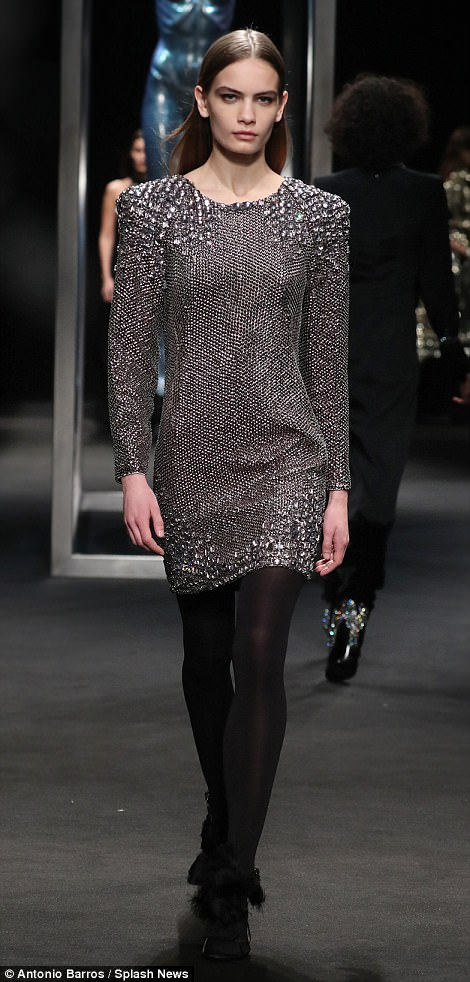 Step by step: Models walked the runway debuting Ferretti's latest designs on Wednesday evening