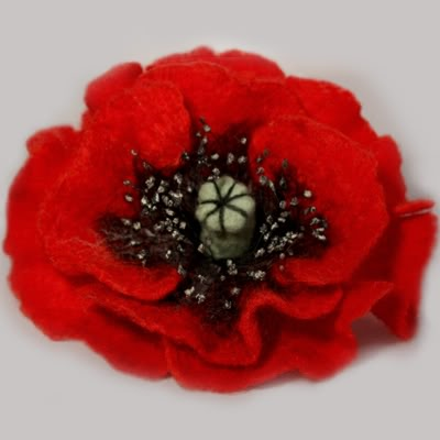 felted poppy flower