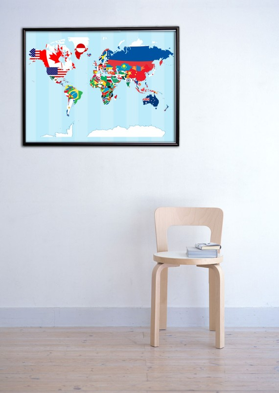 world art image with flags