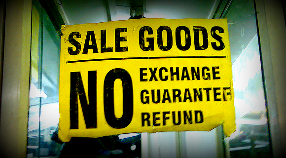 Shop Advice from a SASsy Seller: Refunds and Exchanges - HandmadeSpark.com - image of yellow No Refund sign