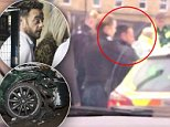 The TV presenter, 42, is seen appearing dazed as he climbs out of his £26,000 John Cooper, which smashed into two other cars and injured a three-year-old girl