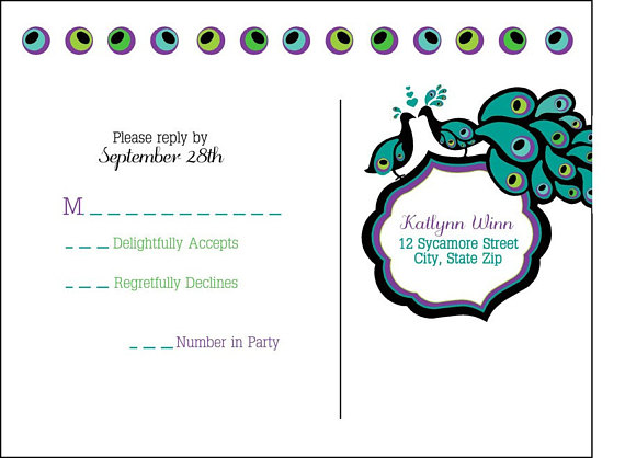 Fun NonTraditional Purple Blue Green Teal Peacock Wedding Invitation and Response Set