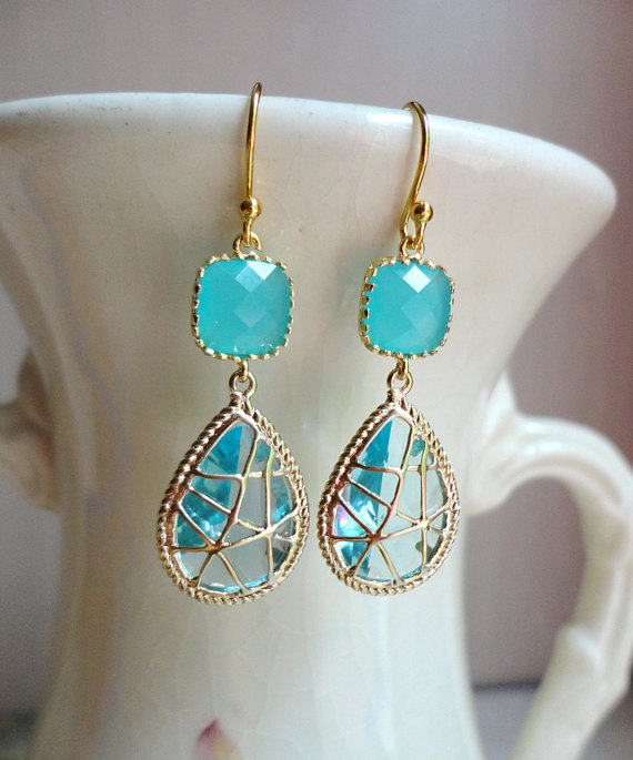 Aquamarine Wrapped Glass Dangle Earrings. Aquamarine Earrings. Bridesmaid Earrings. Beach Wedding. Wedding Earrings