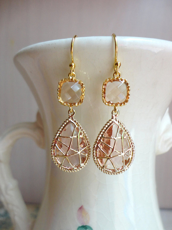 Champagne Wrapped Glass Dangle Earrings. Champagne Wedding. Peach Wedding. Bridesmaid Earrings.