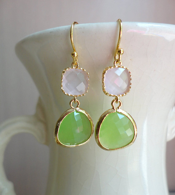 Gorgeous Peridot Green and Soft Pink Glass Dangle Earrings. Color Block Earrings. Bridesmaid Earrings. Wedding Earrings