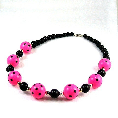 ON SALE Pink Polka Dots - Big Bead Necklace