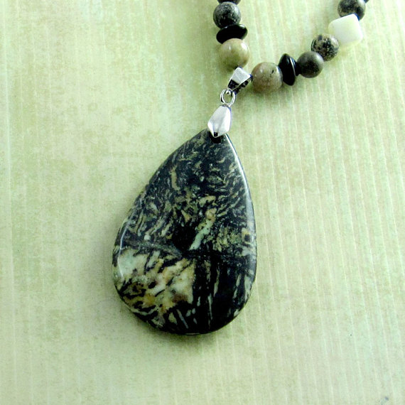 Teardrop Necklace w Fireworks Jasper and Gemstones in Black, Green, and Yellow