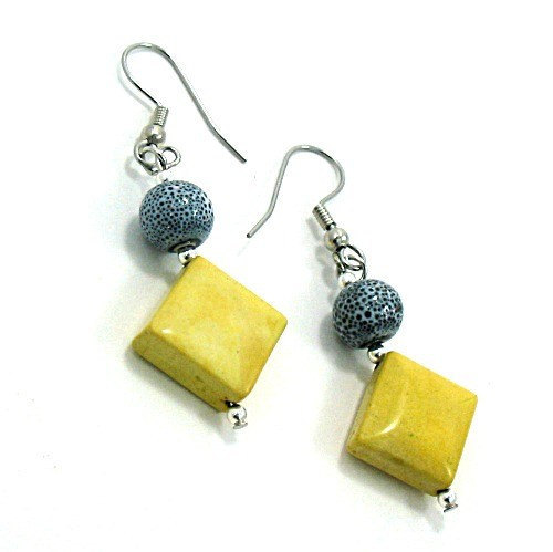 Earrings inYellow Jade and Grey Ceramic - Whisper of Spring