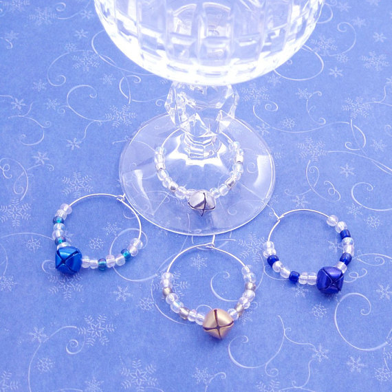 Jingle Bell Blues Wine and Beverage Charms Set of 4