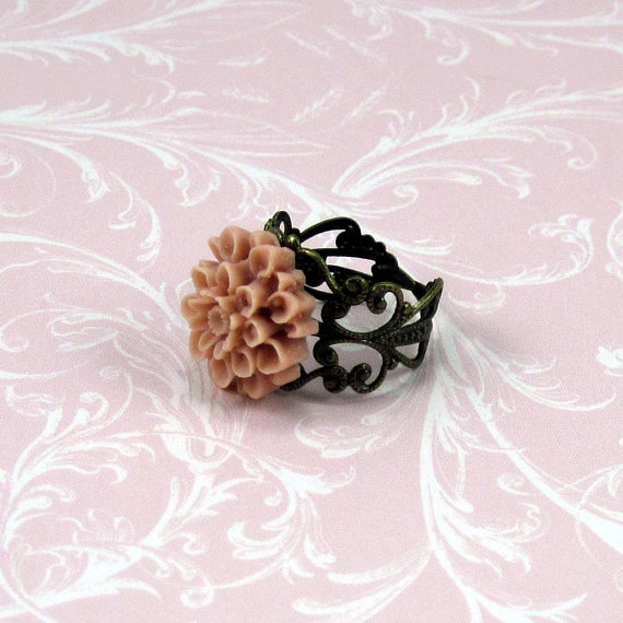 Chrysanthemum Ring in Dusty Coral w Antiqued Brass Band - Chrissy