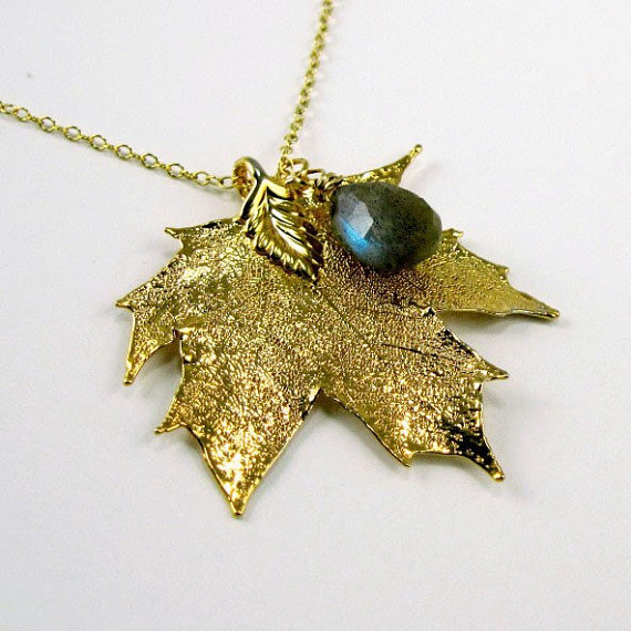 Gold Leaf Necklace w Faceted Labradorite - Forest Nocturne