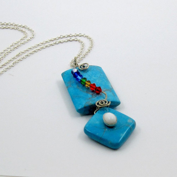 Chakra Necklace Turquoise w Rainbow Crystals