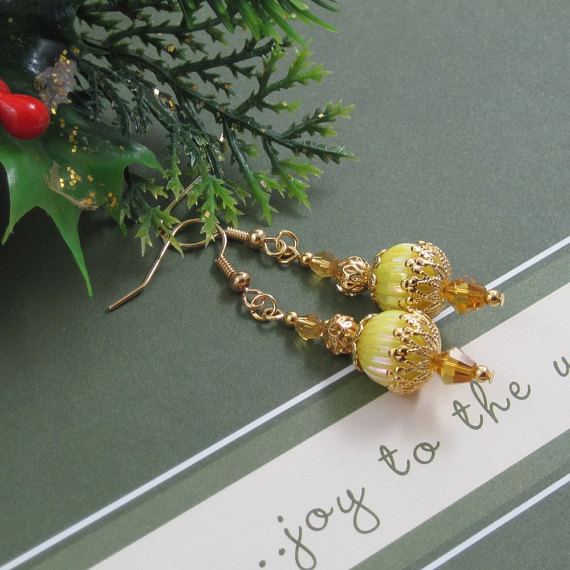 Sunny Christmas Morn Ornament Style Earrings in Yellow and Gold