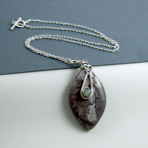 Mauve and Grey Jasper Pendant w Necklace and Sterling Accents