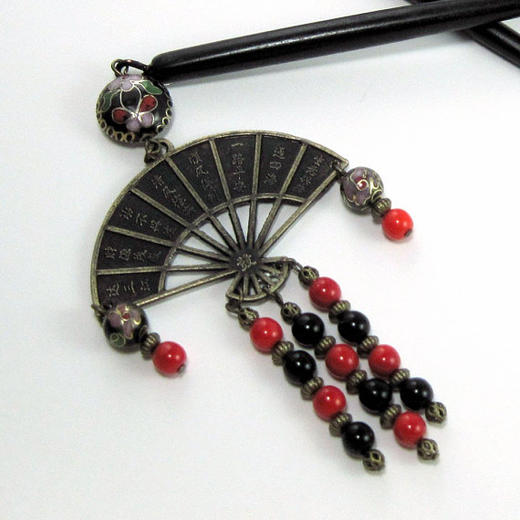 Asian Inspired Hair Sticks w Cloisonne and Antiqued Brass Fan