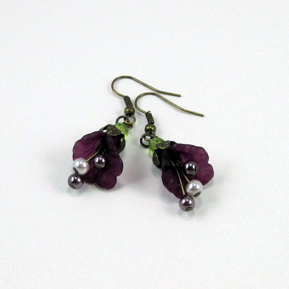 Purple Frilled Flower Earrings w Faux Pearls - Splash of Merlot