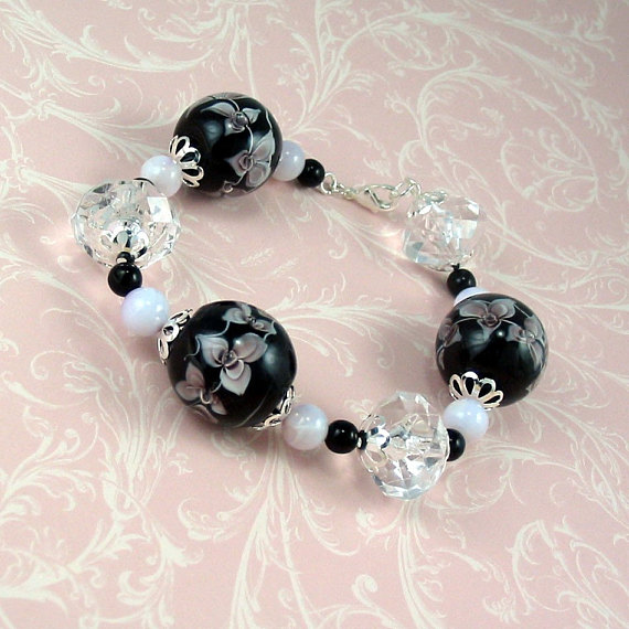Lampwork Glass Bracelet Pink and Black Floral - For Victoria