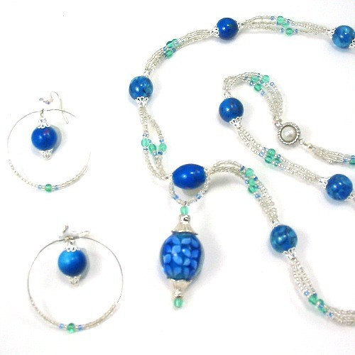 Necklace and Earrings Green w Blue Glass Beads - Mood Indigo
