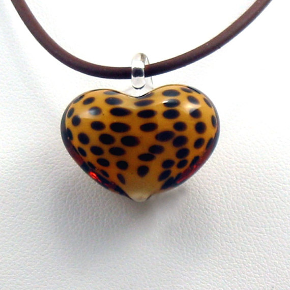 Glass Heart w Cord Necklace Cheetah Pattern - Your Cheetah'n Heart