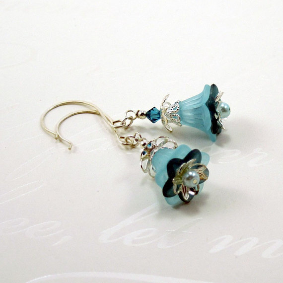 Aqua and Teal Flower Earrings Vintage Inspired - Alyana