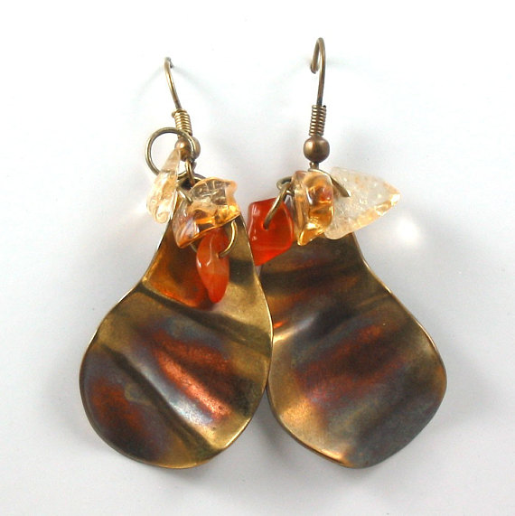 Citrine and Agate Earrings - Phoenix Rising