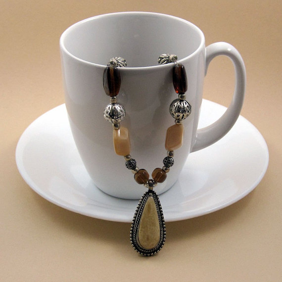 Cafe au Lait Jasper Pendant w Necklace Brown and Cream