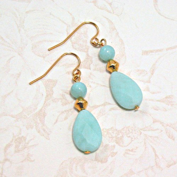 Amazonite Faceted Briolette Earrings - Evandre