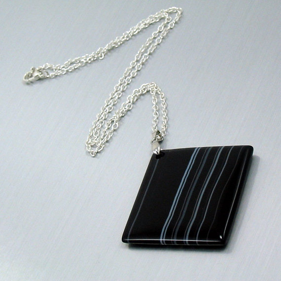 Black and White Banded Agate Necklace Linear Energy