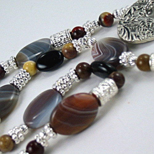ON SALE Gemstone Necklace Botswana Agate, Onyx, Mookaite - Earth Expressions