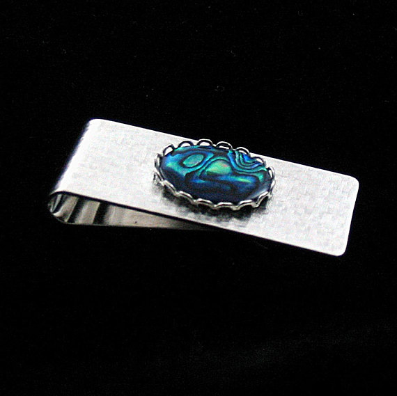 Paua Shell Business Card or Money Clip Silver