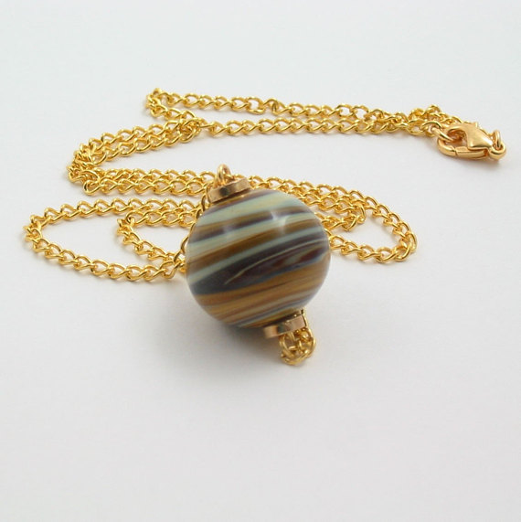 Blue and Brown Swirl Glass Bead Necklace - Jupiter's Storm