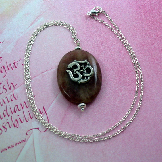 Mauve Muscovite Pendant w Om Embellishment on Sterling Silver Chain - Trinity