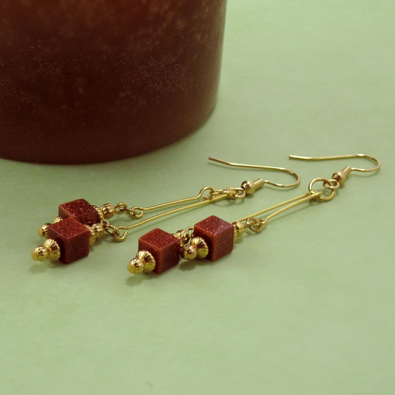 Goldstone Cube Dangle Earrings