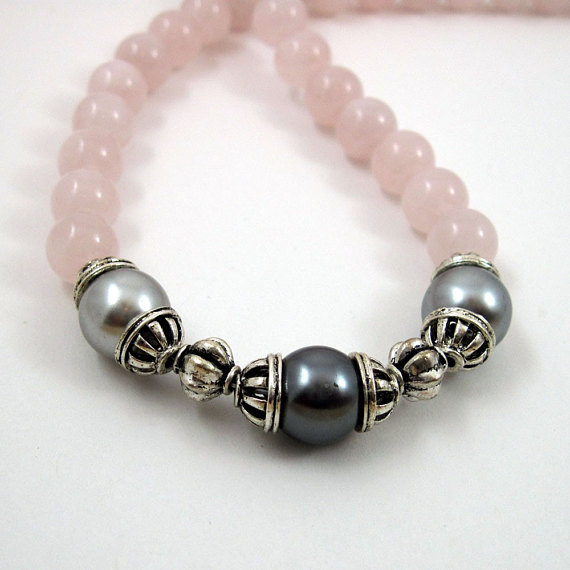 Rose Quartz and Grey Faux Pearl Necklace - Rose for Phoebe