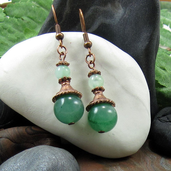 Green Jasper, Quartz and Copper Earrings - Misty Green Mystique