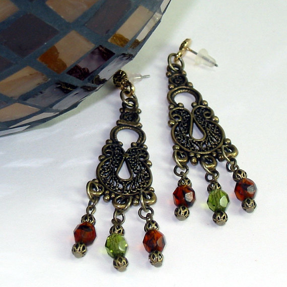 Exotic Green Orange Crystal Earrings - Arabian Autumn