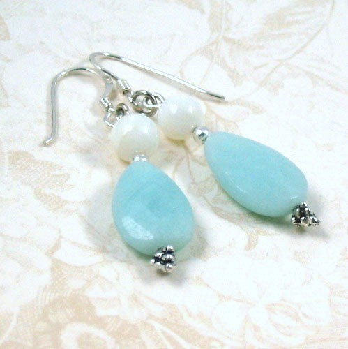 Amazonite and Mother of Pearl Earrings