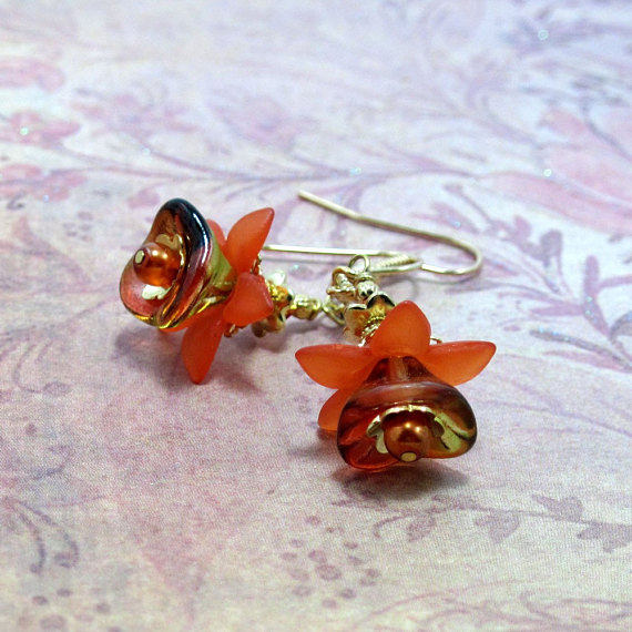 Orange w Gold Flower Earrings Vintage Inspired - Orange Blossom Special