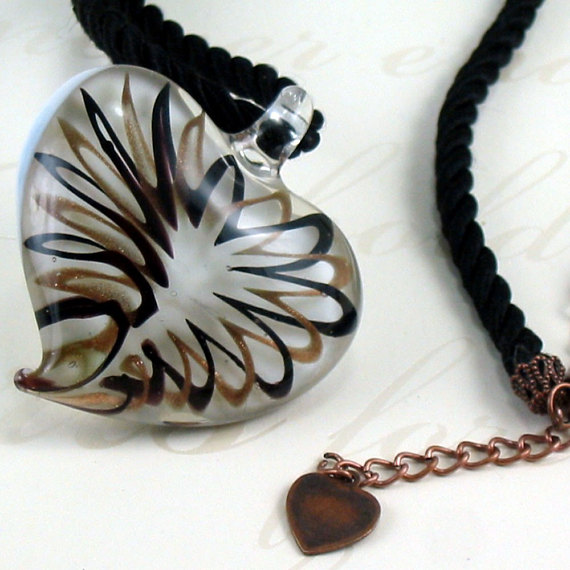 Black and Copper Swirl Heart Necklace - My Heart's Gone Haywire