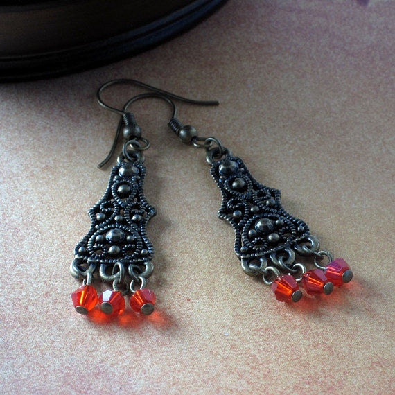 Exotic Chandelier Red Crystal Earrings - Simply Red