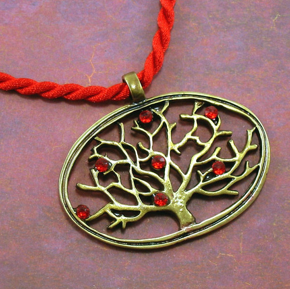 Antiqued Brass Tree Pendant with Red Crystals -The Night Has Eyes