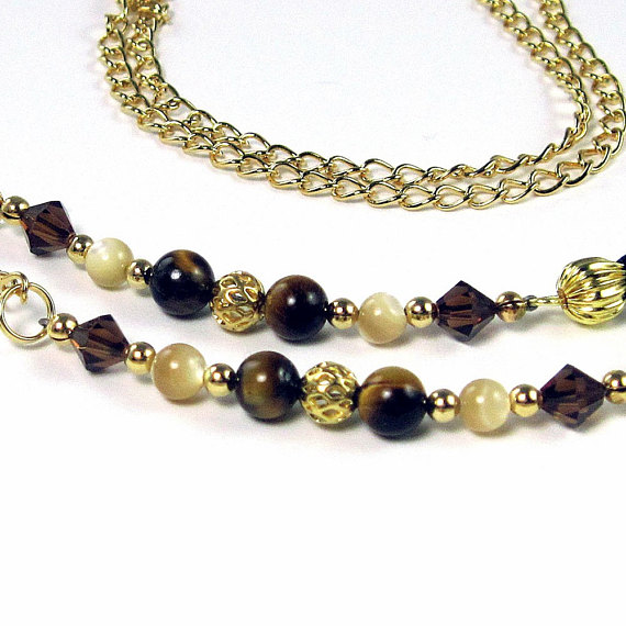 Eyeglass Holder Necklace w Tiger Eye, Mother of Pearl, in Gold