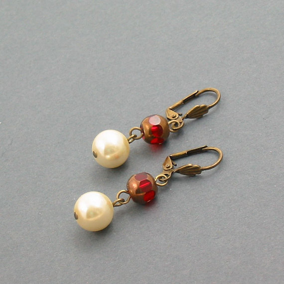 White Faux Pearl and Red Crystal Earrings - Scarlett O Hara