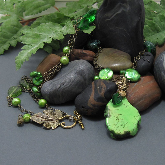 Garden Greenery Apple Turquoise Necklace