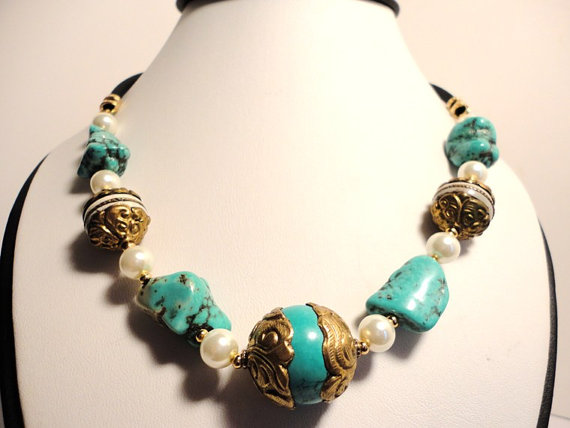 blue turquoise necklace. ethnic necklace.tibetan bead necklace. pearl necklace.gemstone jewelry.strand necklace.ethnic jewelry.
